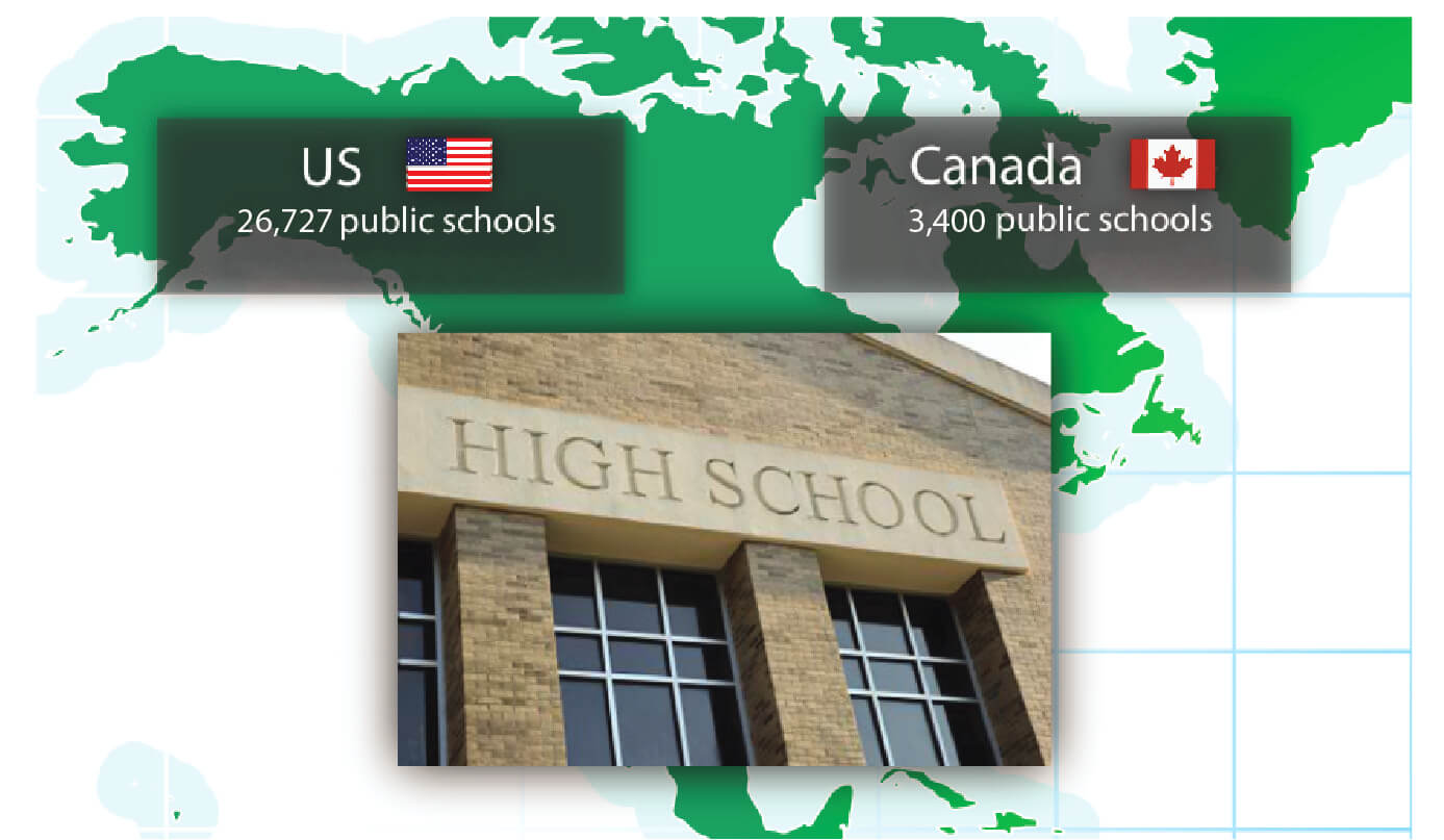 Number of public schools in US and Canada